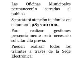 Aviso – Oficinas Municipales Ayuntamiento de Cistierna