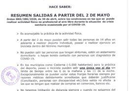 Bando nº 10 Covid-19: salidas, deporte y cuidado de huertos (2 mayo 2020)