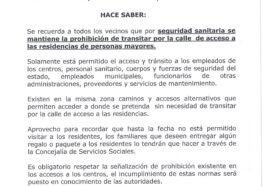 Bando nº 11 Covid-19, sobre prohibición de acceso calle residencias de mayores (3 mayo 2020)
